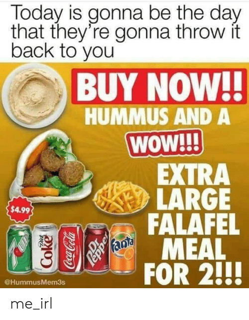 Hummus: Today is gonna be the day  that they're gonna throw it  back to you  BUY NOW!!  HUMMUS AND A  WOW!  EXTRA  LARGE  FALAFEL  MEAL  $4.99  @HummusMem3s me_irl