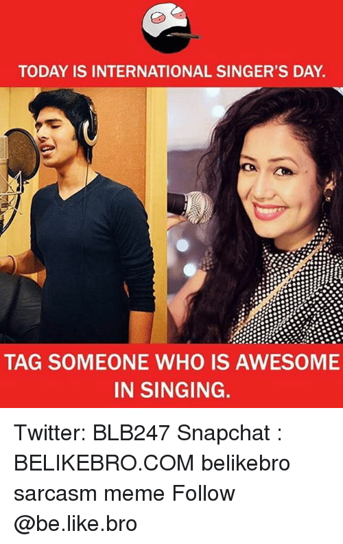Be Like, Meme, and Memes: TODAY IS INTERNATIONAL SINGER'S DAY  TAG SOMEONE WHO IS AWESOME  IN SINGING. Twitter: BLB247 Snapchat : BELIKEBRO.COM belikebro sarcasm meme Follow @be.like.bro
