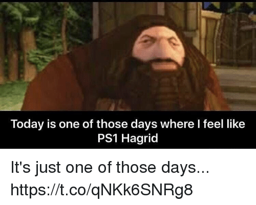 ps1: Today is one of those days where I feel like  PS1 Hagrid It's just one of those days... https://t.co/qNKk6SNRg8