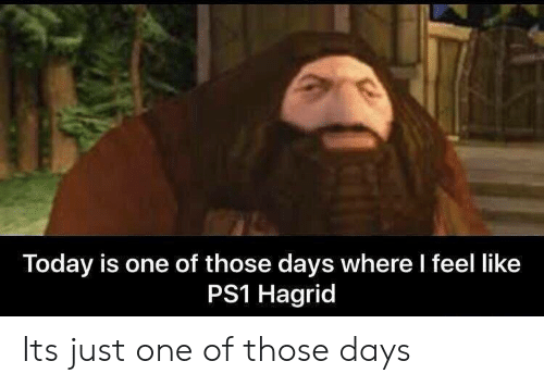 ps1: Today is one of those days where l feel like  PS1 Hagrid Its just one of those days