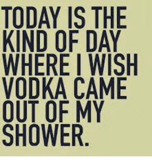 Dank, Shower, and Today: TODAY IS THE  KIND OF DAY  WHERE I WISH  VODKA CAME  OUT OF MY  SHOWER