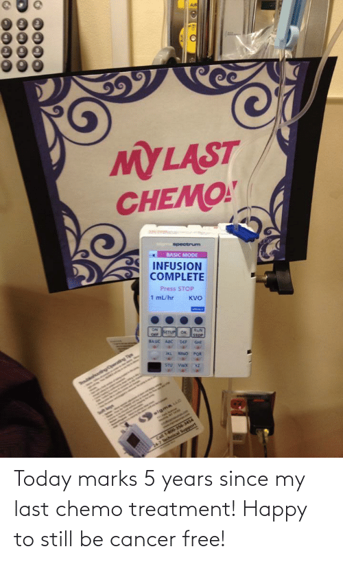 Cancer: Today marks 5 years since my last chemo treatment! Happy to still be cancer free!