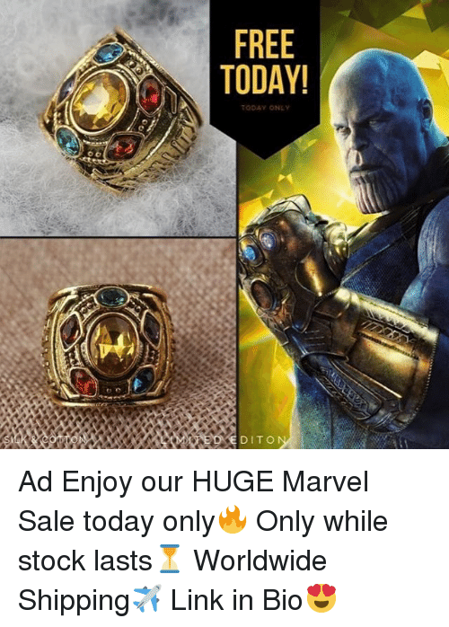 Memes, Link, and Marvel: TODAY!  ODAY ONLY  DITO Ad Enjoy our HUGE Marvel Sale today only🔥 Only while stock lasts⏳ Worldwide Shipping✈️ Link in Bio😍