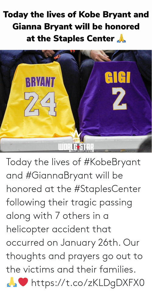 SIZZLE: Today the lives of #KobeBryant and #GiannaBryant will be honored at the #StaplesCenter following their tragic passing along with 7 others in a helicopter accident that occurred on January 26th. Our thoughts and prayers go out to the victims and their families. 🙏❤️ https://t.co/zKLDgDXFX0