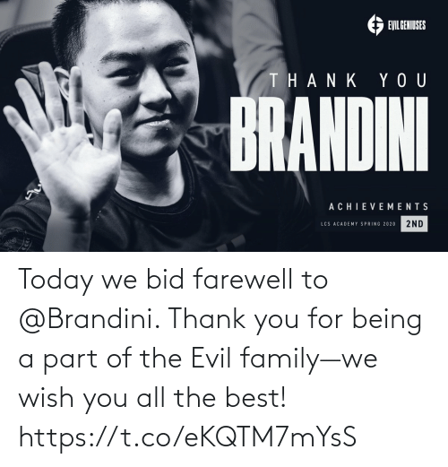 Evil: Today we bid farewell to @Brandini. Thank you for being a part of the Evil family—we wish you all the best! https://t.co/eKQTM7mYsS