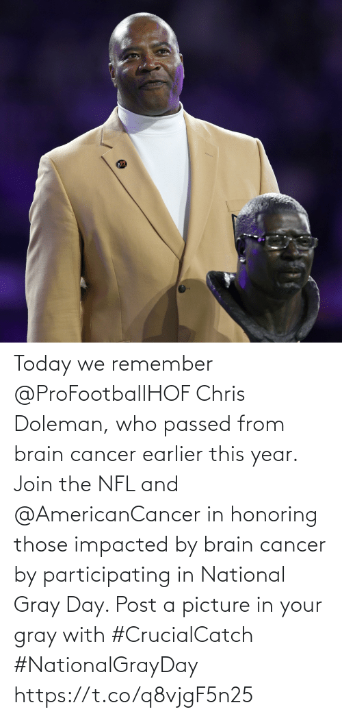 Cancer: Today we remember @ProFootballHOF Chris Doleman, who passed from brain cancer earlier this year.  Join the NFL and @AmericanCancer in honoring those impacted by brain cancer by participating in National Gray Day. Post a picture in your gray with #CrucialCatch #NationalGrayDay https://t.co/q8vjgF5n25