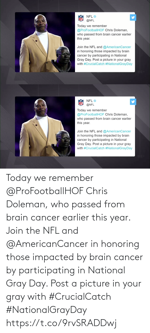 Cancer: Today we remember @ProFootballHOF Chris Doleman, who passed from brain cancer earlier this year.  Join the NFL and @AmericanCancer in honoring those impacted by brain cancer by participating in National Gray Day. Post a picture in your gray with #CrucialCatch #NationalGrayDay https://t.co/9rvSRADDwj