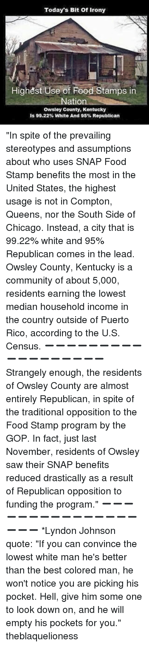"Memes, Food Stamps, and Puerto Rico: Today's Bit of Irony  Highest Use of Food Stamps in  Nation  owsley County, Kentucky  is 99.22% White And 95% Republican ""In spite of the prevailing stereotypes and assumptions about who uses SNAP Food Stamp benefits the most in the United States, the highest usage is not in Compton, Queens, nor the South Side of Chicago. Instead, a city that is 99.22% white and 95% Republican comes in the lead. Owsley County, Kentucky is a community of about 5,000, residents earning the lowest median household income in the country outside of Puerto Rico, according to the U.S. Census. ➖➖➖➖➖➖➖➖➖➖➖➖➖➖➖➖➖➖ Strangely enough, the residents of Owsley County are almost entirely Republican, in spite of the traditional opposition to the Food Stamp program by the GOP. In fact, just last November, residents of Owsley saw their SNAP benefits reduced drastically as a result of Republican opposition to funding the program."" ➖➖➖➖➖➖➖➖➖➖➖➖➖➖➖➖➖➖ *Lyndon Johnson quote: ""If you can convince the lowest white man he's better than the best colored man, he won't notice you are picking his pocket. Hell, give him some one to look down on, and he will empty his pockets for you."" theblaquelioness"