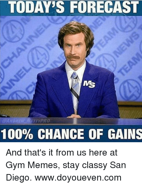 Forecast, San Diego, and San: TODAYS FORECAST  ANDREW NATYPRO  100% CHANCE OF GAINS And that's it from us here at Gym Memes, stay classy San Diego.  www.doyoueven.com