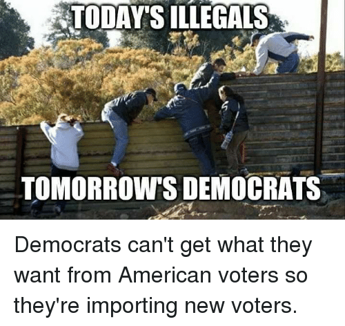 Memes, American, and 🤖: TODAY'S ILLEGALS  TOMORROW'S DEMOCRATS Democrats can't get what they want from American voters so they're importing new voters.
