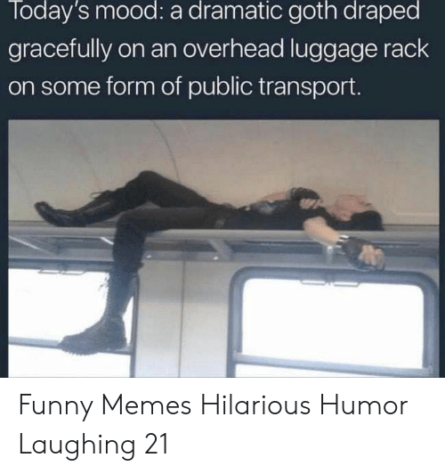 rack: Today's mood: a dramatic goth draped  gracefully on an overhead luggage rack  on some form of public transport. Funny Memes Hilarious Humor Laughing 21