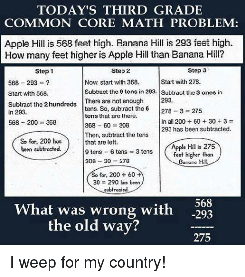 Today's Third grade Common Core Math Problem; Apple Hill, Banana Hill
