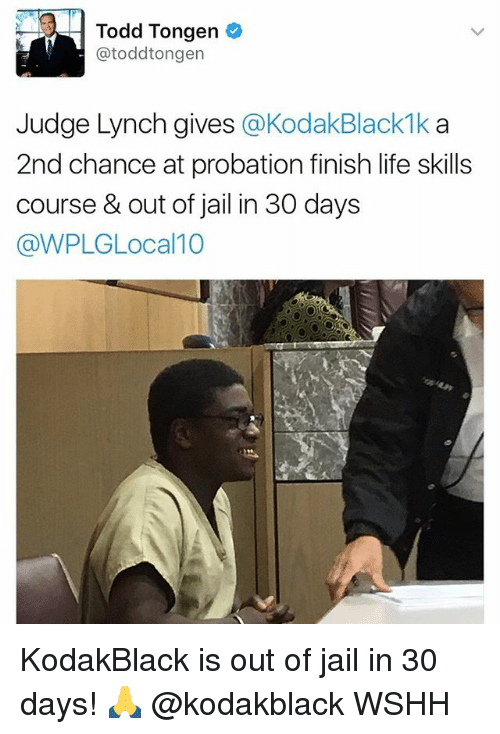 Jail, Life, and Memes: Todd Tongen  atoddtongen  Judge Lynch gives  @Kodak Black 1k a  2nd chance at probation finish life skills  course & out of jail in 30 days  @WPLGLocal 10 KodakBlack is out of jail in 30 days! 🙏 @kodakblack WSHH
