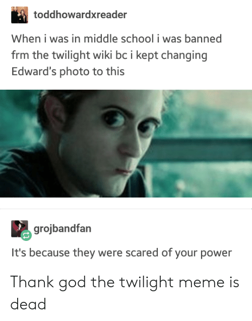 Twilight: toddhowardxreader  When i was in middle school i was banned  frm the twilight wiki bc i kept changing  Edward's photo to this  grojbandfan  It's because they were scared of your power Thank god the twilight meme is dead