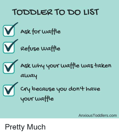 Funny To Do List Meme : Toddler to do list ask for waffle refuse why