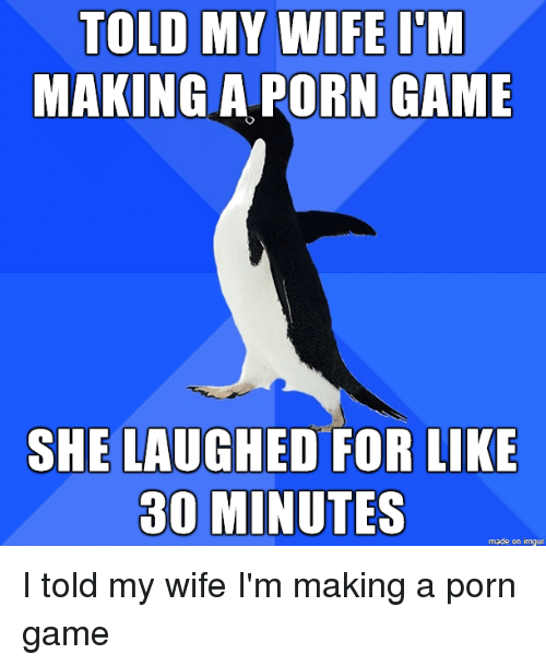 Game, Imgur, and Porn: TOLD MY WIFE I'NM  MAKING A PORN GAME  SHE LAUGHED FOR LIKE  30 MINUTES  made on imgur