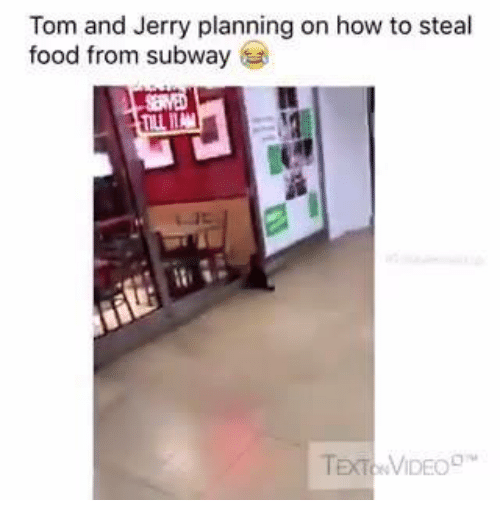 stealing food: Tom and Jerry planning on how to steal  food from subway