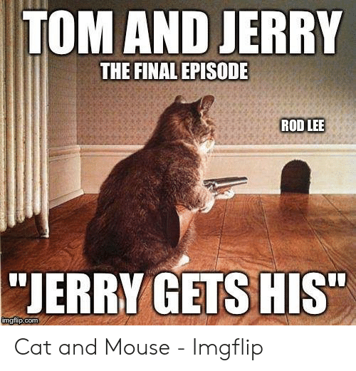 """Jerry Mouse: TOM AND JERRY  THE FINAL EPISODE  ROD LEE  """"JERRY GETS HIS""""  imgflip.com Cat and Mouse - Imgflip"""