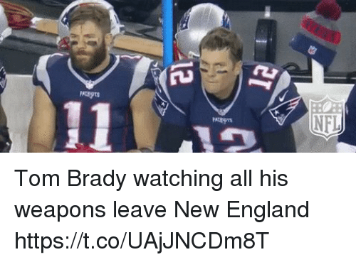 England, Tom Brady, and Brady: Tom Brady watching all his weapons leave New England https://t.co/UAjJNCDm8T