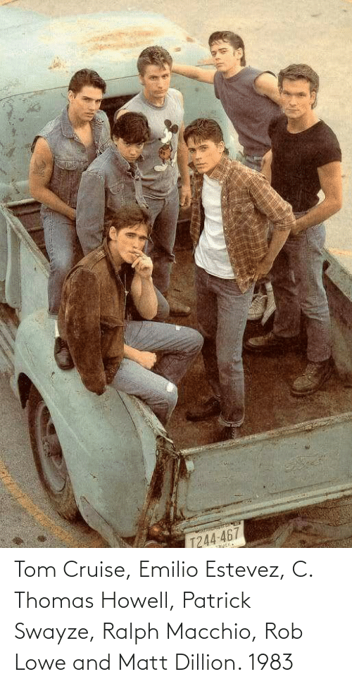 Tom Cruise: Tom Cruise, Emilio Estevez, C. Thomas Howell, Patrick Swayze, Ralph Macchio, Rob Lowe and Matt Dillion. 1983