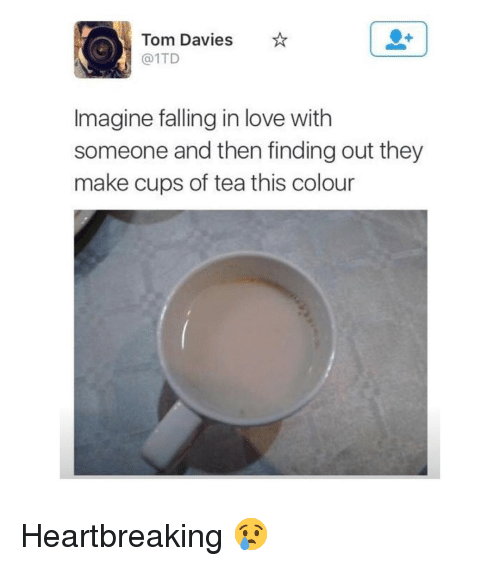 Love, Memes, and 🤖: Tom Davies  @1TD  Imagine falling in love with  someone and then finding out they  make cups of tea this colour Heartbreaking 😢