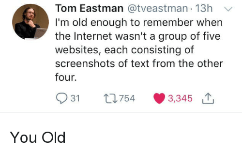 Im Old: Tom Eastman @tveastman 13h  I'm old enough to remember when  the Internet wasn't a group of five  websites, each consisting of  screenshots of text from the other  four.  931 th754 3,345 You Old