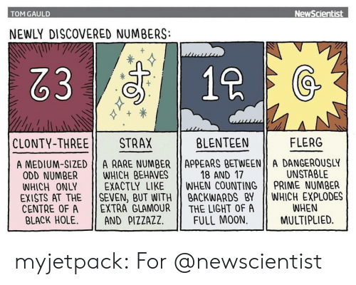 Rares: TOM GAULD  NewScientist  NEWLY DISCOVERED NUMBERS:  83  1  CLONTY-THREE 11  STRAX  BLENTEEN  FLERG  A MEDIUM-SIZED A RARE NUMBER ApPEARS BETWEEN A DANGEROUSLY  18 AND 17  UNSTABLE  ODD NUMBER WHICH BEHAVES  WHICH ONLY EXACTLY LIKE WHEN COUNTING PRIME NUMBER  EXISTS AT THE SEVEN, BUT WITHBACKWARDS BY WHICH EXPLODES  CENTRE OF A 11 EXTRA GLAMOUR || THE LIGHT OF A  BLACK HOLE. 11 AND ρ1ZZAZZ | FULL MOON.  WHEN  MULTIPLIED. myjetpack: For @newscientist