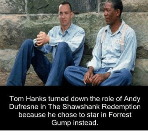 Andy Dufresne, Forrest Gump, and Memes: Tom Hanks turned down the role of Andy  Dufresne in The Shawshank Redemption  because he chose to star in Forrest  Gump instead.