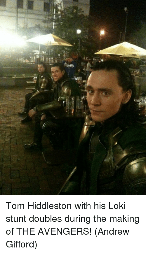 Stunts: Tom Hiddleston with his Loki stunt doubles during the making of THE AVENGERS!  (Andrew Gifford)