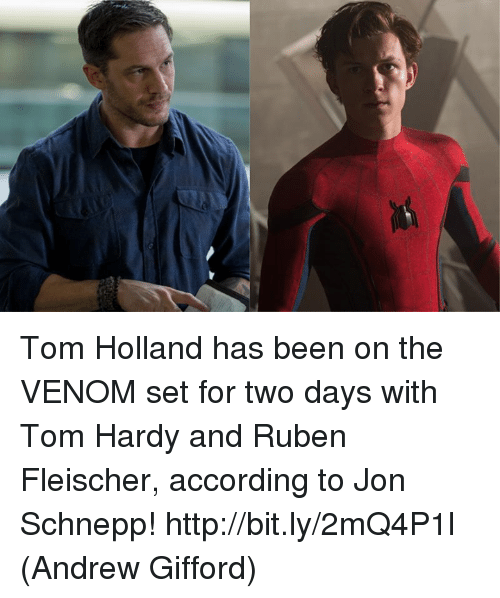 Memes, Tom Hardy, and Http: Tom Holland has been on the VENOM set for two days with Tom Hardy and Ruben Fleischer, according to Jon Schnepp! http://bit.ly/2mQ4P1l  (Andrew Gifford)