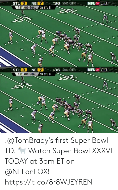 bowl: .@TomBrady's first Super Bowl TD. 🐐  Watch Super Bowl XXXVI TODAY at 3pm ET on @NFLonFOX! https://t.co/8r8WJEYREN