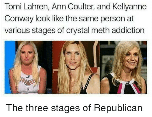 Kellyanne: Tomi Lahren, Ann Coulter, and Kellyanne  Conway look like the same person at  various stages of crystal meth addiction  The three stages of Republicarn
