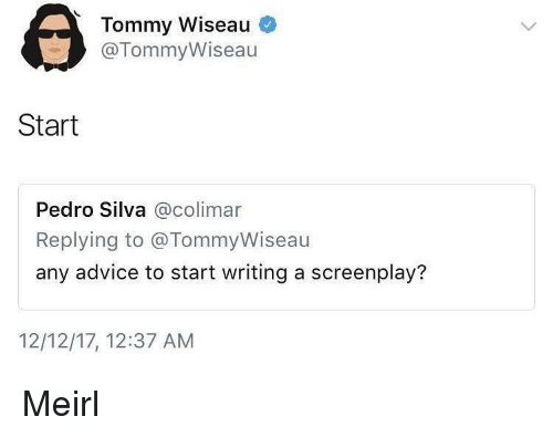 screenplay: Tommy Wiseau  @TommyWiseau  Start  Pedro Silva @colimar  Replying to @TommyWiseau  any advice to start writing a screenplay?  12/12/17, 12:37 AM Meirl