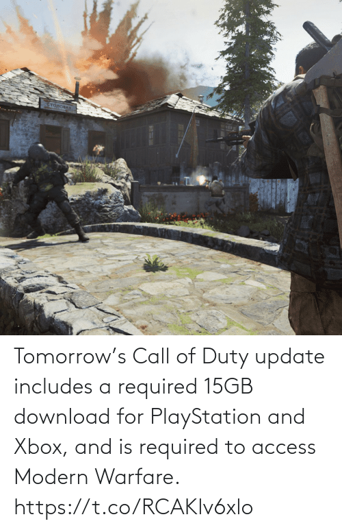 modern warfare: Tomorrow's Call of Duty update includes a required 15GB download for PlayStation and Xbox, and is required to access Modern Warfare. https://t.co/RCAKlv6xlo