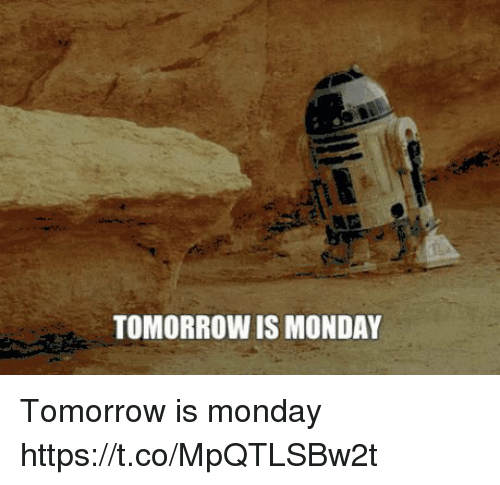 Tomorrow, Monday, and Monday-Tomorrow: TOMORROW IS MONDAY Tomorrow is monday https://t.co/MpQTLSBw2t