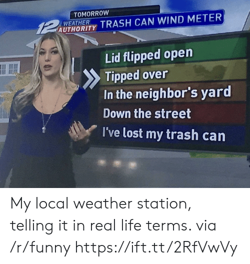 trash can: TOMORROW  UTAORIY TRASH CAN WIND METER  WEATHER  Lid flipped open  Tipped over  In the neighbor's yard  Down the street  I've lost my trash carn My local weather station, telling it in real life terms. via /r/funny https://ift.tt/2RfVwVy