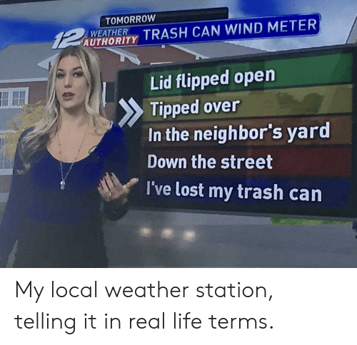 trash can: TOMORROW  UTAORIY TRASH CAN WIND METER  WEATHER  Lid flipped open  Tipped over  In the neighbor's yard  Down the street  I've lost my trash carn My local weather station, telling it in real life terms.