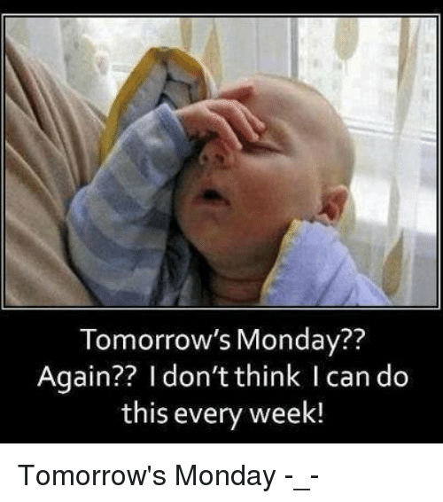 Dank, Mondays, and Tomorrow: Tomorrow's Monday??  Again?? I don't think I can do  this every week! Tomorrow's Monday -_-