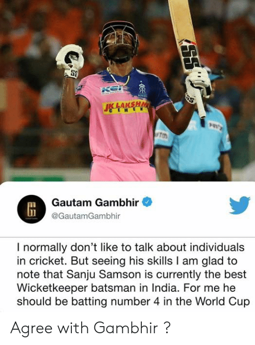 batting: ton  Gautam Gambhir  @GautamGambhir  I normally don't like to talk about individuals  in cricket. But seeing his skills I am glad to  note that Sanju Samson is currently the best  Wicketkeeper batsman in India. For me he  should be batting number 4 in the World Cup Agree with Gambhir ?