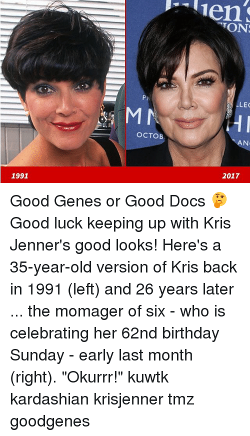 "kuwtk: TON  P:  LEC  OCTOB  AN  2017  1991 Good Genes or Good Docs 🤔 Good luck keeping up with Kris Jenner's good looks! Here's a 35-year-old version of Kris back in 1991 (left) and 26 years later ... the momager of six - who is celebrating her 62nd birthday Sunday - early last month (right). ""Okurrr!"" kuwtk kardashian krisjenner tmz goodgenes"