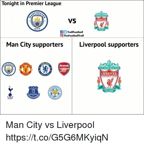 Everton: Tonight in Premier League  CHES  YOULL NEVER WALK ALONE  VS  LIVERPOOL  FOOTBALL CLUE  18  94  CITY  EST 1892  TrollFootball  ) TheFootballTroll  Man City supportersLiverpool supporters  ELS  CHES  CHES  Arsenal  YOULL NEVER WALKALONE  LIVERPOOL  FOOTBALL CLUB  CITY  WITE  BALL  ESTER  EST.1892  Everton  1878  OTTENHAN  HOTSPUR  BALL  S NISI Man City vs Liverpool https://t.co/G5G6MKyiqN