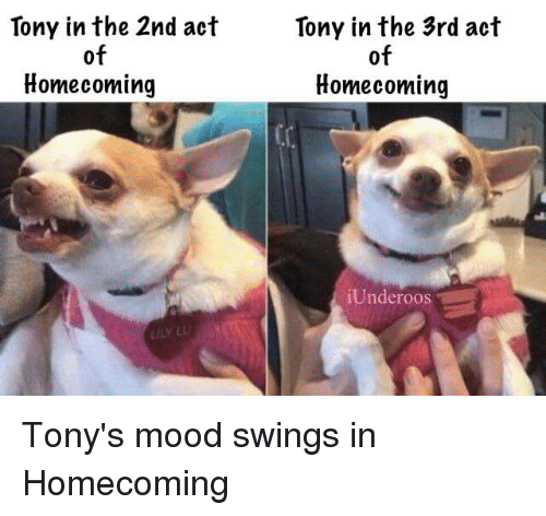 underoos: Tony in the 2nd act  Tony in the 3rd act  of  Homecoming  of  Homecoming  Underoos  ILY L Tony's mood swings in Homecoming
