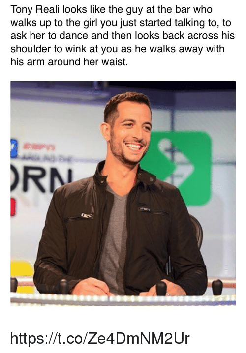 winking: Tony Reali looks like the guy at the bar who  walks up to the girl you just started talking to, to  ask her to dance and then looks back acroSS his  shoulder to wink at you as he walks away with  his arm around her waist.  RN https://t.co/Ze4DmNM2Ur