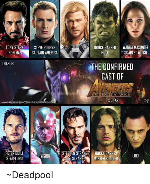 Ironic: TONY STARK  STEVE ROGERS  BRUCE BANNER WANDA MAXIMOFF  THO  HULK SCARLET WITCH  IRON MAN CAPTAIN AMERICA  THANOS  THE CONFIRMED  CAST OF  IN F KNITY TWAR.  (SO FAR)  www.facebook.com/MarvelCinematicUnive  STEPHEN STRANGE BUCKY BARNES  PETER DULL  VISION  LOKI  STAR-LORD  STRANGEA WINTER SOLDIER ~Deadpool