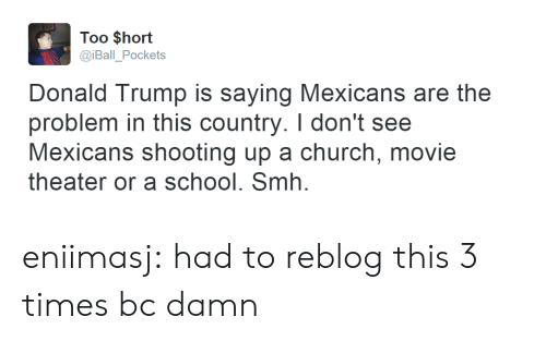 Donald Trump: Too $hort  @iBall_Pockets  Donald Trump is saying Mexicans are the  problem in this country. I don't see  Mexicans shooting up a church, movie  theater or a school. Smh. eniimasj:  had to reblog this 3 times bc damn