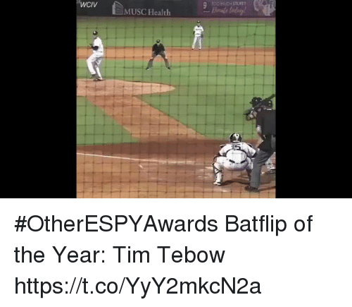 tebow: TOO MUCH STUFF  WCV MUSC Health #OtherESPYAwards  Batflip of the Year: Tim Tebow https://t.co/YyY2mkcN2a