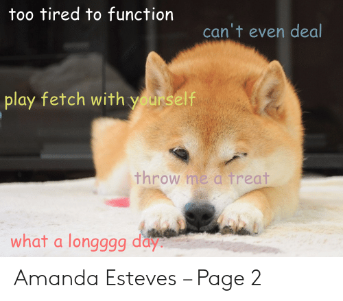 Page, Play, and Day: too tired to function  can't even deal  play fetch with yourself  throw me a treat  what a longggg day Amanda Esteves – Page 2