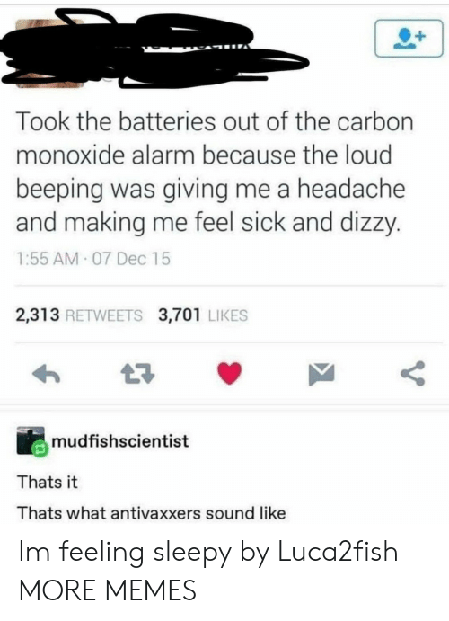 Feel Sick: Took the batteries out of the carbon  monoxide alarm because the loud  beeping was giving me a headache  and making me feel sick and dizzy.  1:55 AM 07 Dec 15  2,313 RETWEETS 3,701 LIKES  mudfishscientist  Thats it  Thats what antivaxxers sound like Im feeling sleepy by Luca2fish MORE MEMES