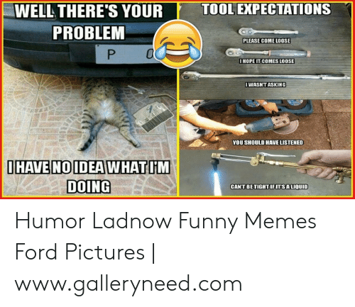 Funny Mechanic Memes: TOOL EXPECTATIONS  WELL THERE'S YOUR  PROBLEM  PLEASE COME LOOSE  HOPE IT COMES LOOSE  IWASNT ASKING  YOU SHOULD HAVE LISTENED  IHAVEINOIDEAWHAT IM  DOING  CANTBE TIGHT IFITSA LIQUID Humor Ladnow Funny Memes Ford Pictures   www.galleryneed.com