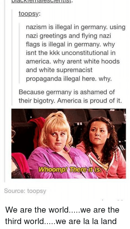 Whoomp: toopsy:  nazism is illegal in germany. using  nazi greetings and flying nazi  flags is illegal in germany. why  isnt the kkk unconstitutional in  america. why arent white hoods  and white supremacist  propaganda illegal here. why.  Because germany is ashamed of  their bigotry. America is proud of it.  Whoomp! WhereURUS  Source: toopsy We are the world.....we are the third world.....we are la la land
